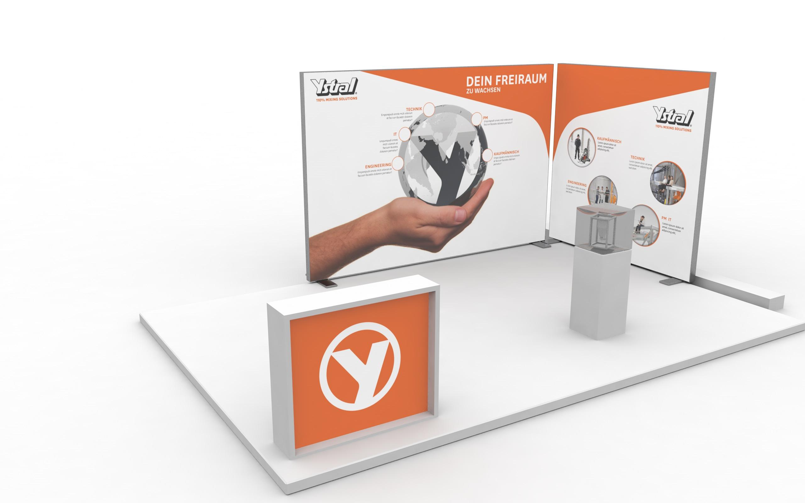 3D Entwurf und Darstellung eines Messestandes für ystral GmbH