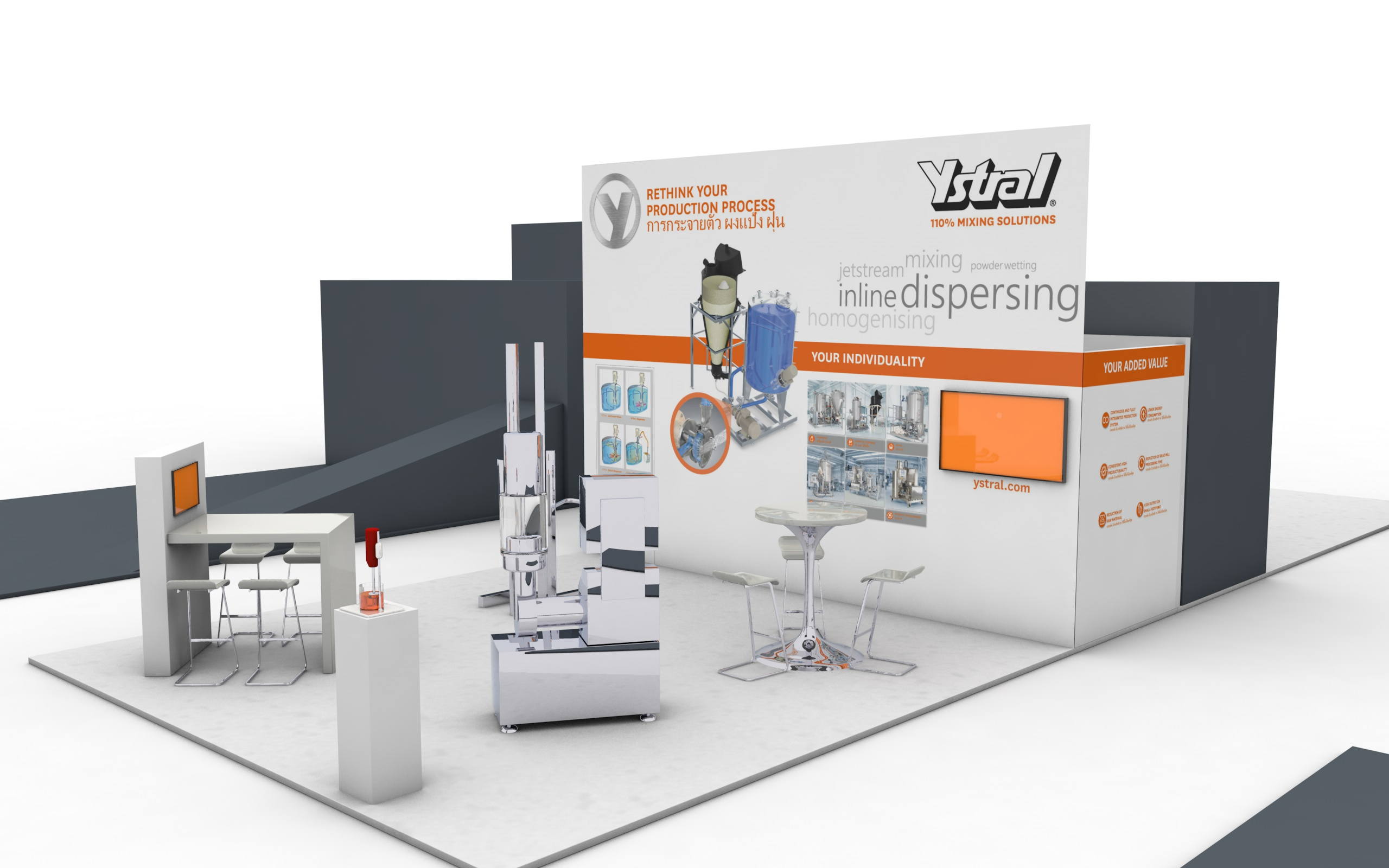 ystral Messestand 3D ProPak-Asia Rueckwand