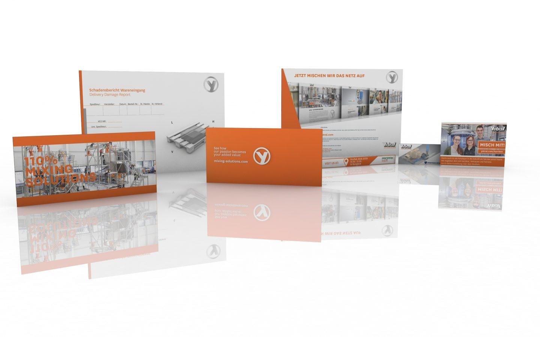 3D Darstellung unterschiedlicher Printmedien für ystral GmbH von xyz-design